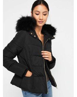 Petite Black Hooded Puffer Jacket