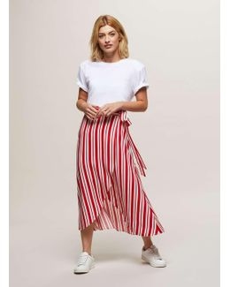 Red Striped Wrap Midi Skirt