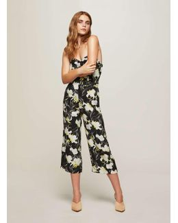 Floral Print Cut Out Back Bandeau Jumpsuit