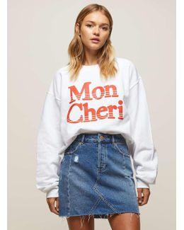White 'mon Cheri' Slogan Sweatshirt