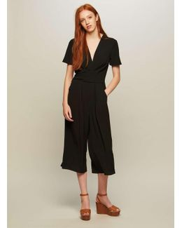 Black Twist Front Culottes Jumpsuit