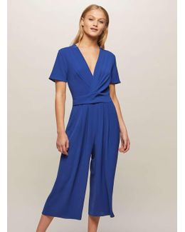 Blue Twist Front Culotte Jumpsuit