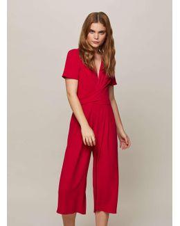 Red Twist Front Culottes Jumpsuit