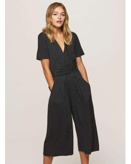 Polka Dot Twisted Front Culottes Jumpsuit