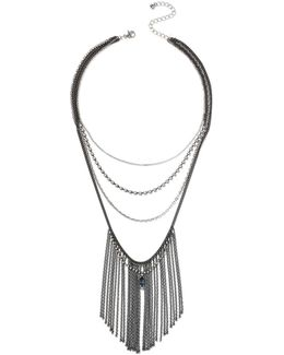 Layered Chain Tassel Necklace