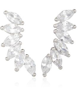 Rhodium Plated Cubic Zirconia Marquis Wing Climber Earrings