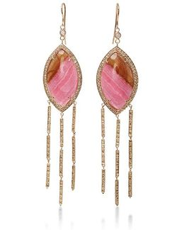 Marquise Rhodo Agate Earrings