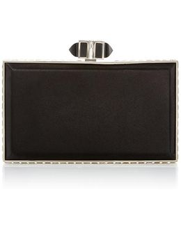Coffered Black Rectangle Clutch