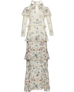 The Annabelle Print Jacquard Tiered Full Length Dress