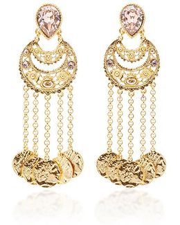 Crystal Filigree C Coin Drop Earring