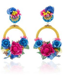 Yellow Multi Floral Drop Earrings