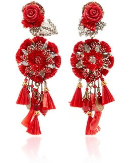 Red Rop Flower Earrings With Tassels