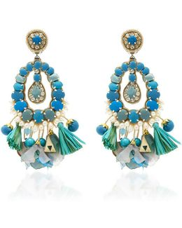 Blue Tear Drop Earrings With Tassels