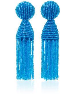 Short Beaded C Tassel Earrings