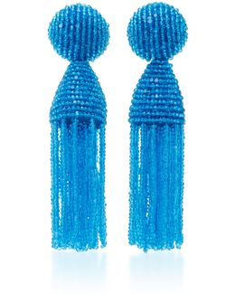 Short Beaded C Tassel Earrings