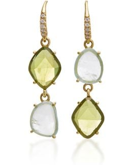 18k Yellow Gold Peridot And Aquamarine Earrings