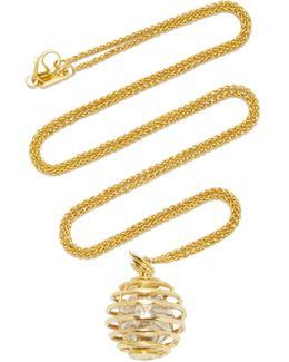 "18k Yellow Gold Mercury ""creativity"" Charm Necklace On 22"" Wheat Chain"