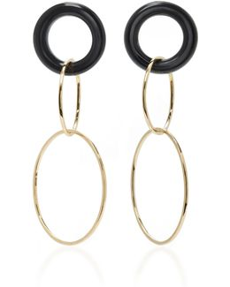 14k Gold And Onyx Earrings