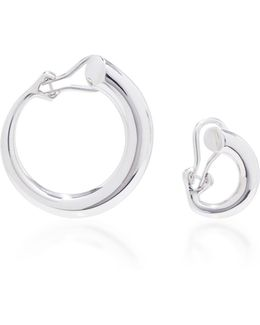 Monie Small And Large Silver Clip Earrings