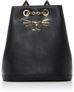 Embellished Feline Leather Backpack