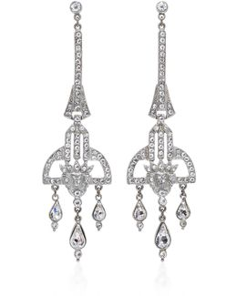 Antique Silver Crystal Deco Earring