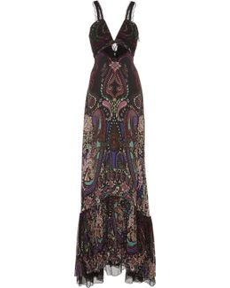 Paisley Flounce Evening Gown