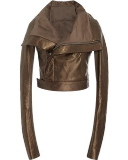 Copper Cropped Lamé And Leather Jacket