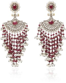 Indorussian Ruby And Pearl Earrings