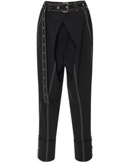 Belted Stretch-wool Pants