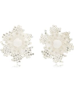 Pom And Crystal Bloom Earrings