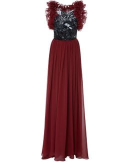 Backless Gown With Ruffles