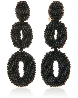 Beaded Double Oval P Earring