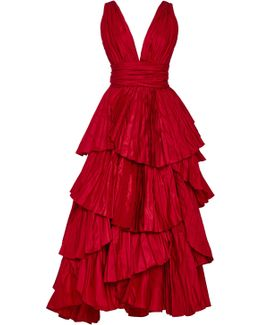 Tiered Pleated Silk Gown