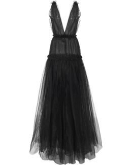 Ruffled Tulle Gown