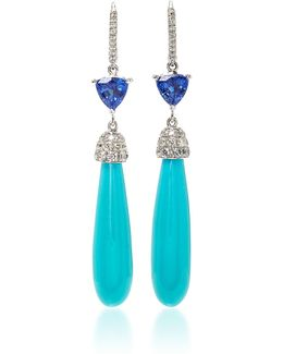 Tanzanite And Turquoise Earrings