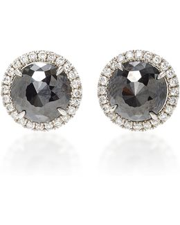 Round Rose Cut Black Diamond Stud Earrings