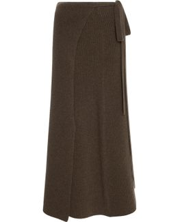 Ribbed-knit Wrap Skirt