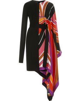 Asymmetrical Batwing Sleeve Dress