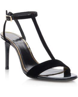 Velvet T-strap Sandals