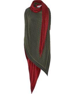 Asymmetric Plissé Silk Top