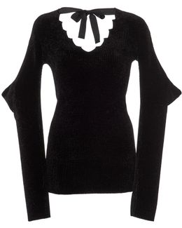 Velvet-effect V-neck Sweater