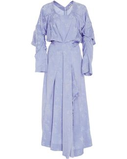 Asymmetric Draped Floral-jacquard Dress