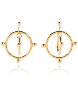Floating Circle Gold-tone Earrings