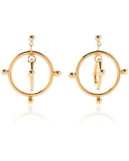 Floating Circle Gold-tone Earrings
