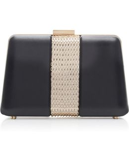 Chain Embellished Leather Box Clutch