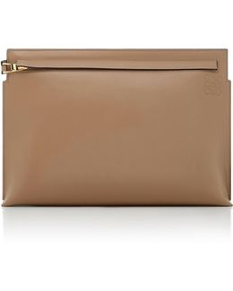 T Pouch Leather Clutch Bag