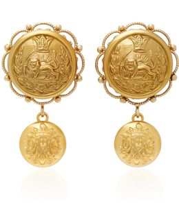 Lion-embossed Gold-plated Drop Earrings