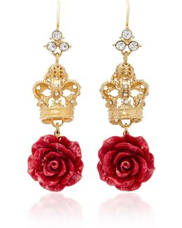 Crown And Rose Gold-plated Crystal Earrings