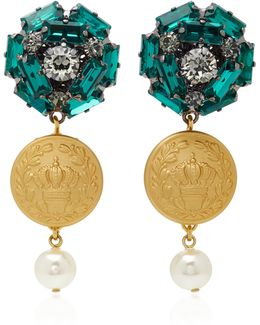 Embossed Gold-plated Crystal Drop Earrings