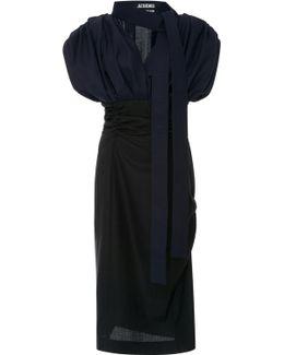 Draped Bodice Pencil Wool Dress